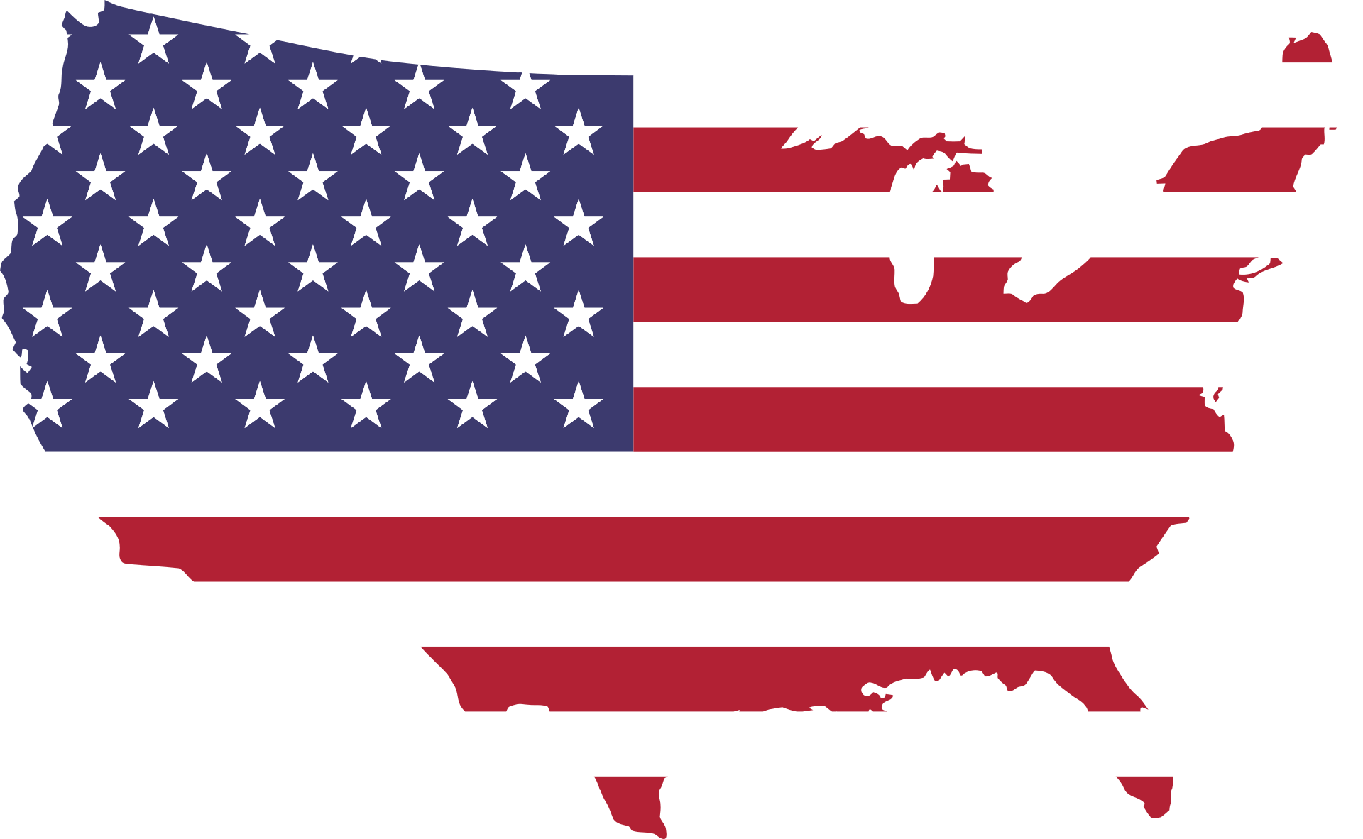 american flag in usa map shape