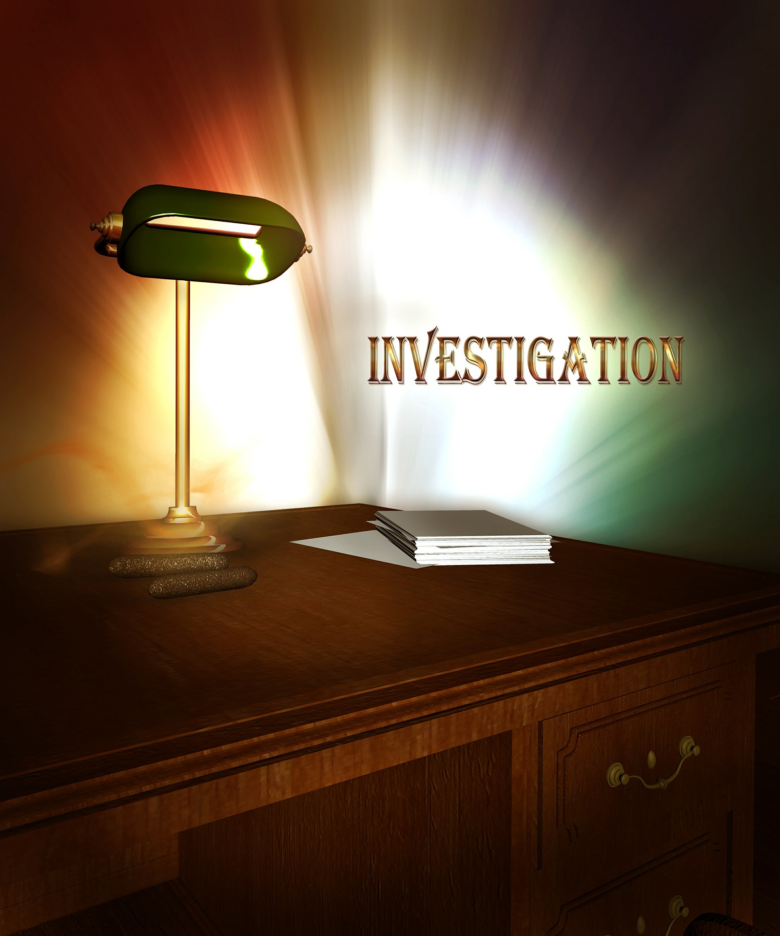 investigation desk with a book and a banker's lamp