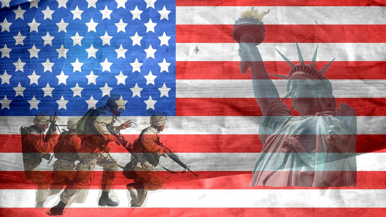military and liberty over american flag