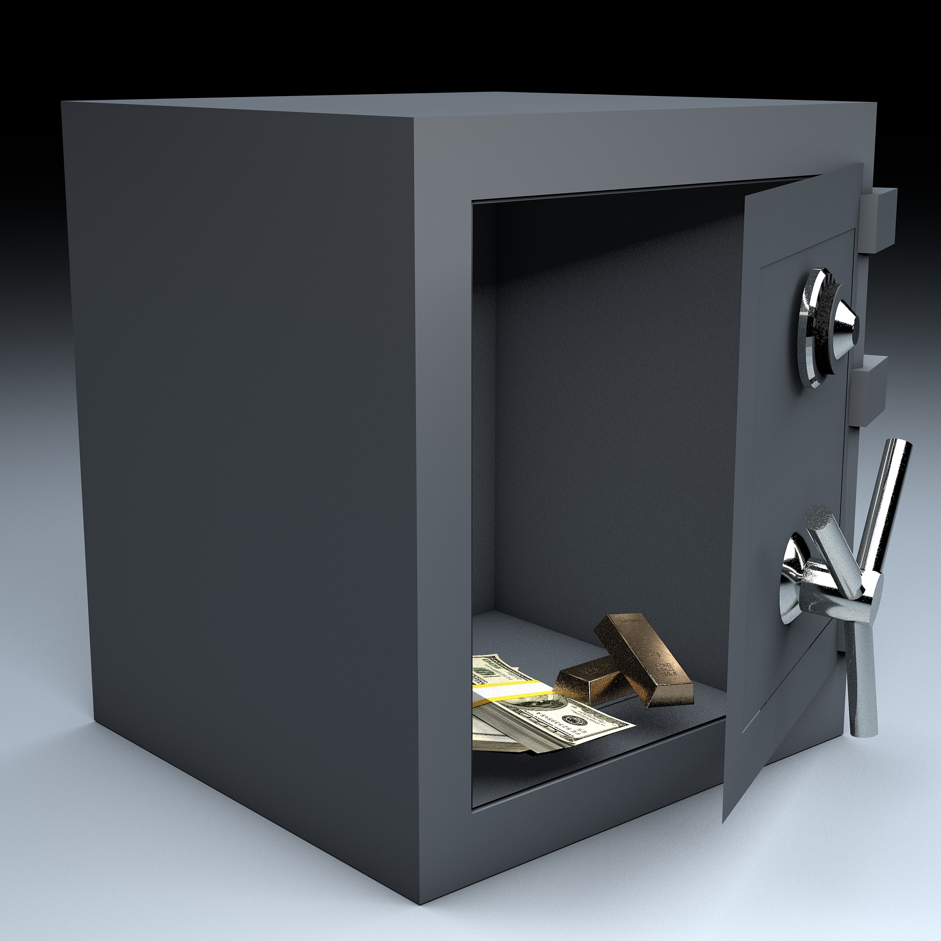 open safe with funds inside